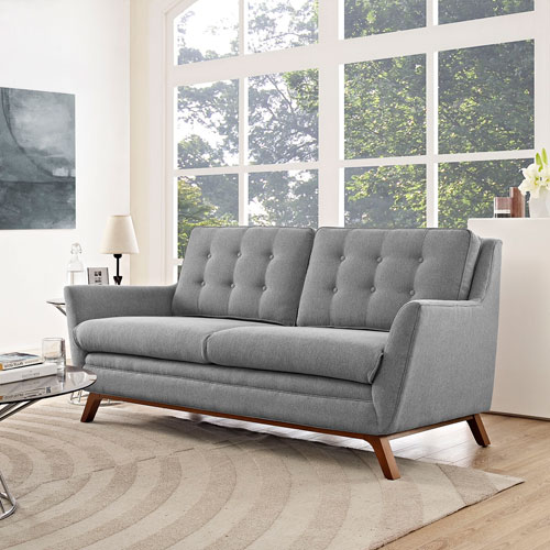 Modway Furniture Beguile Fabric Loveseat in Expectation Gray