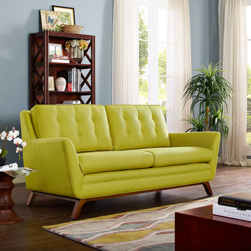 Modway Furniture Beguile Fabric Loveseat in Wheatgrass