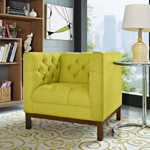 Modway Furniture Panache Fabric Armchair in Wheatgrass