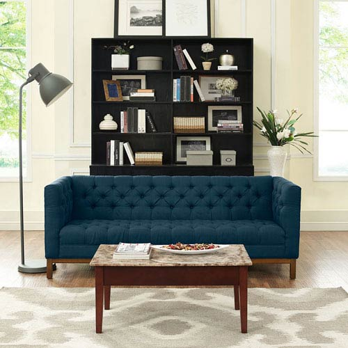 Beau Modway Furniture Panache Fabric Sofa In Azure
