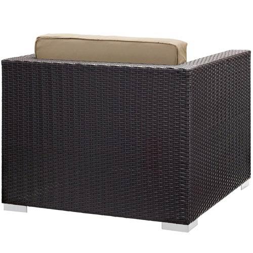 Modway Furniture Convene 5 Piece Outdoor Patio Sectional Set in Espresso Mocha