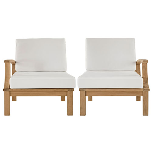 Marina 2 Piece Outdoor Patio Teak Sofa Set in Natural White