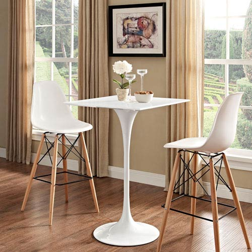 Lippa 28-inch Square Wood Top Bar Table in White