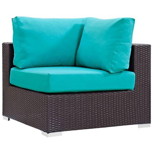 Modway Furniture Convene Outdoor Patio Corner in Espresso Turquoise