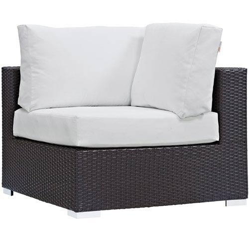 Modway Furniture Convene Outdoor Patio Corner in Espresso White