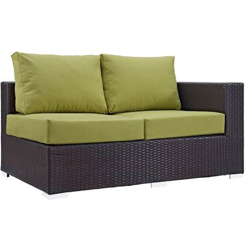 Modway Furniture Convene Outdoor Patio Right Arm Loveseat in Espresso Peridot