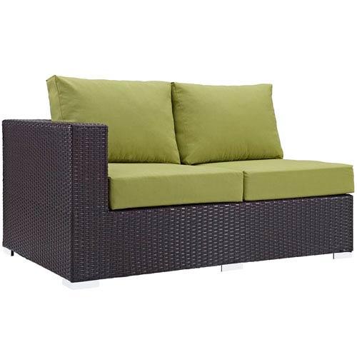 Modway Furniture Convene Outdoor Patio Left Arm Loveseat in Espresso Peridot