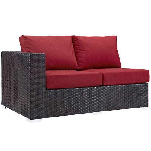 Modway Furniture Convene Outdoor Patio Left Arm Loveseat in Espresso Red
