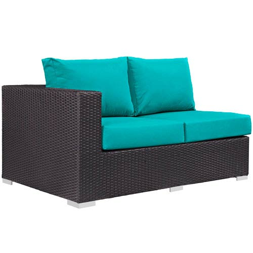 Modway Furniture Convene Outdoor Patio Left Arm Loveseat in Espresso Turquoise