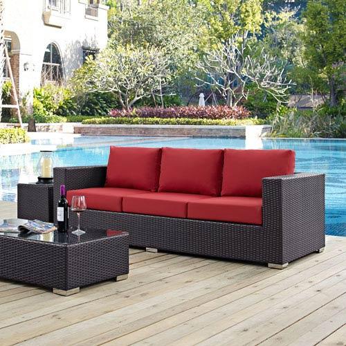 Convene Outdoor Patio Sofa in Espresso Red