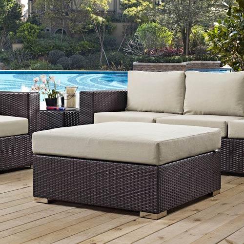 Modway Furniture Convene Outdoor Patio Large Square Ottoman in Espresso Beige