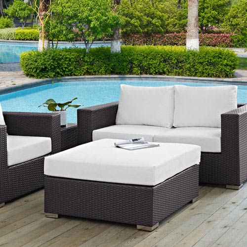 Modway Furniture Convene Outdoor Patio Large Square Ottoman in Espresso White