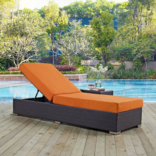 Modway Furniture Convene Outdoor Patio Chaise Lounge in Espresso Orange