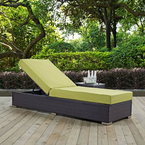 Modway Furniture Convene Outdoor Patio Chaise Lounge in Espresso Peridot