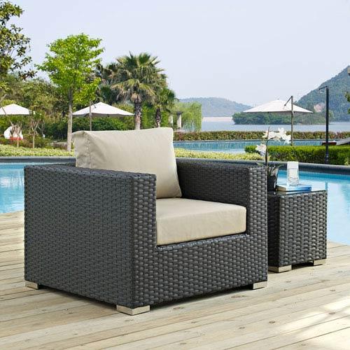 Modway Furniture Sojourn Outdoor Patio Sunbrella® Armchair in Canvas Antique Beige