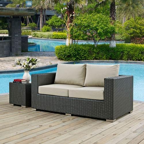 Modway Furniture Sojourn Outdoor Patio Sunbrella® Loveseat in Canvas Antique Beige