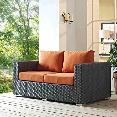 Modway Furniture Sojourn Outdoor Patio Sunbrella® Loveseat in Canvas Tuscan