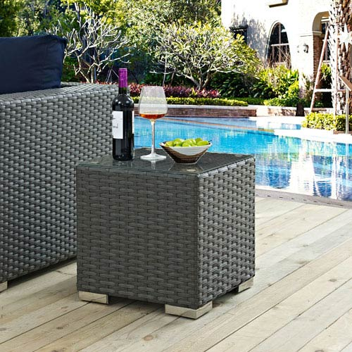 Modway Furniture Sojourn Outdoor Patio Side Table in Chocolate