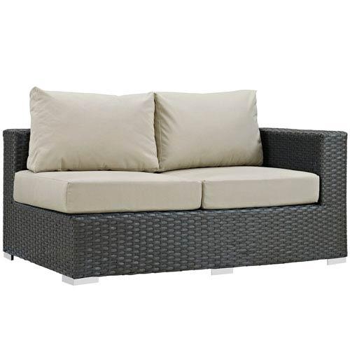 Modway Furniture Sojourn Outdoor Patio Sunbrella® Right Arm Loveseat in Canvas Antique Beige