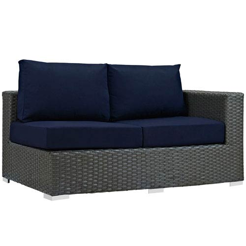 Modway Furniture Sojourn Outdoor Patio Sunbrella® Right Arm Loveseat in Canvas Navy