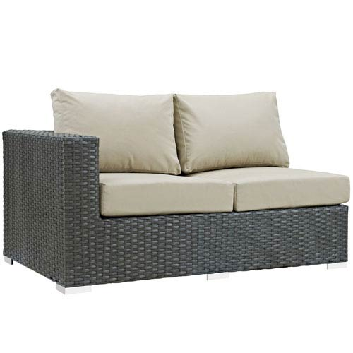 Modway Furniture Sojourn Outdoor Patio Sunbrella® Left Arm Loveseat in Canvas Antique Beige