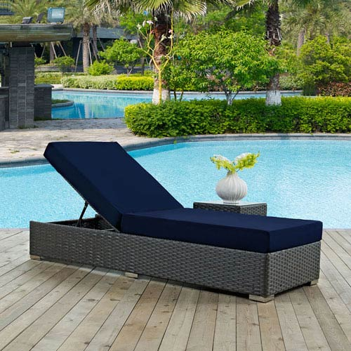 Modway Furniture Sojourn Outdoor Patio Sunbrella® Chaise Lounge in Canvas Navy