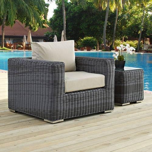 Modway Furniture Summon Outdoor Patio Fabric Sunbrella® Armchair in Canvas Antique Beige