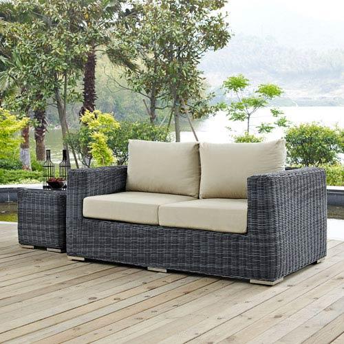 Modway Furniture Summon Outdoor Patio Sunbrella® Loveseat in Canvas Antique Beige
