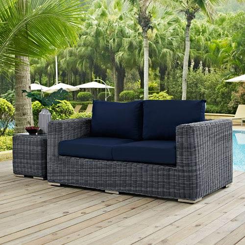 Modway Furniture Summon Outdoor Patio Sunbrella® Loveseat in Canvas Navy