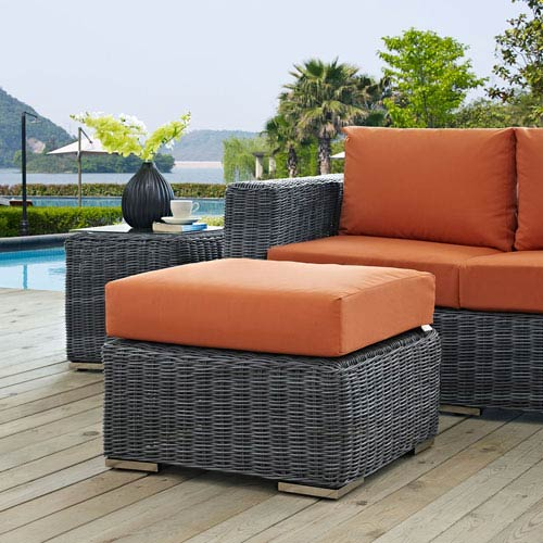 Modway Furniture Summon Outdoor Patio Sunbrella Ottoman In Canvas