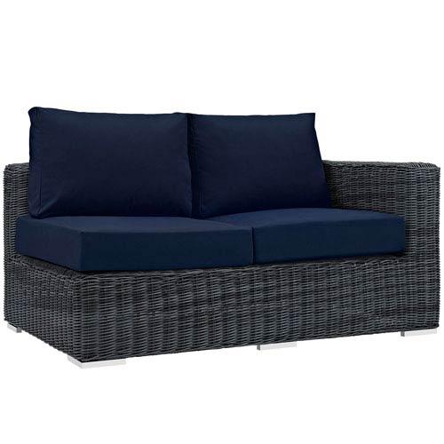 Modway Furniture Summon Outdoor Patio Sunbrella® Right Arm Loveseat in Canvas Navy