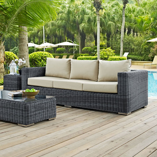 Summon Outdoor Patio Sunbrella® Sofa in Canvas Antique Beige