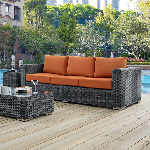Summon Outdoor Patio Sunbrella® Sofa in Canvas Tuscan