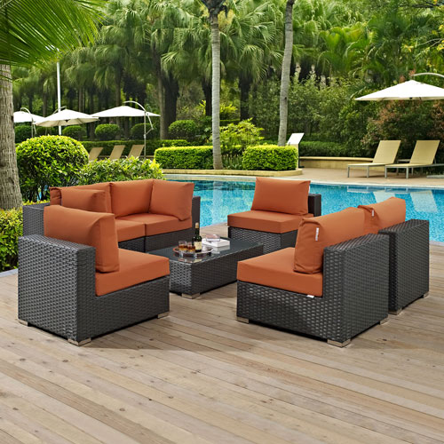 Modway Furniture Sojourn 7 Piece Outdoor Patio Sunbrella® Sectional Set in Canvas Tuscan