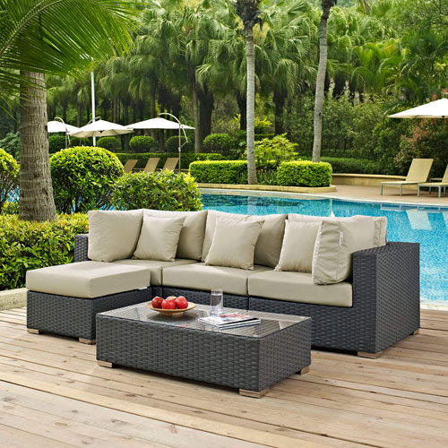 Modway Furniture Sojourn 5 Piece Outdoor Patio Sunbrella® Sectional Set in Canvas Antique Beige
