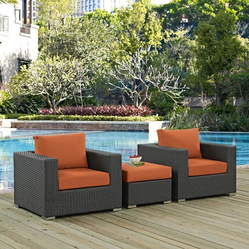 Modway Furniture Sojourn 3 Piece Outdoor Patio Sunbrella® Sectional Set in Canvas Tuscan