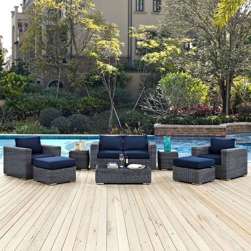 Modway Furniture Summon 8 Piece Outdoor Patio Sunbrella® Sectional Set in Canvas Navy