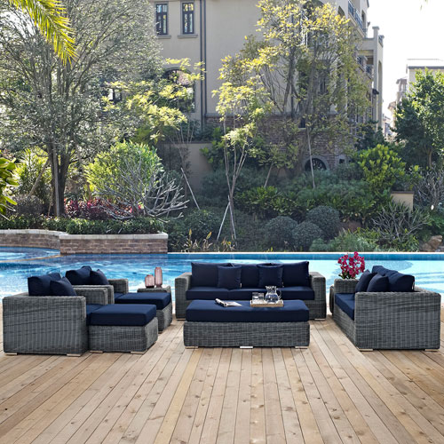 Modway Furniture Summon 9 Piece Outdoor Patio Sunbrella® Sectional Set in Canvas Navy