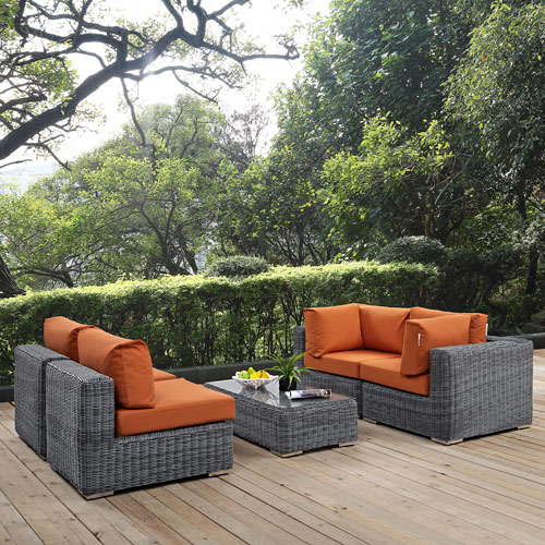 Modway Furniture Summon 5 Piece Outdoor Patio Sunbrella® Sectional Set In  Canvas Tuscan