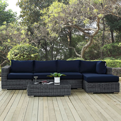 Modway Furniture Summon 5 Piece Outdoor Patio Sunbrella® Sectional Set in Canvas Navy