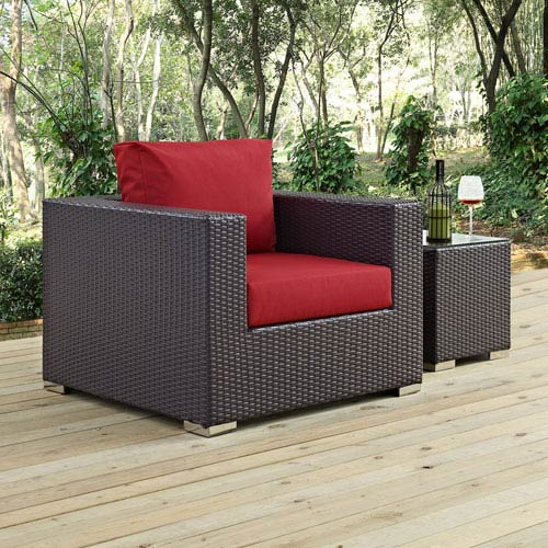 Convene Outdoor Patio Armchair in Red
