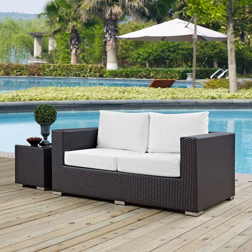 Modway Furniture Convene Outdoor Patio Loveseat in Espresso White