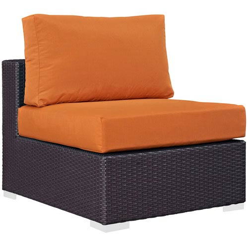 Modway Furniture Convene Outdoor Patio Armless in Espresso Orange