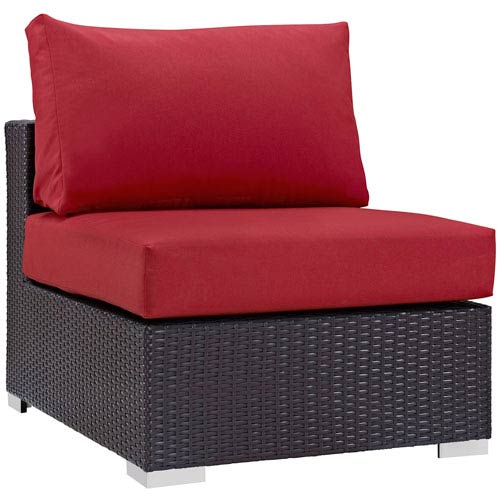 Modway Furniture Convene Outdoor Patio Armless in Espresso Red