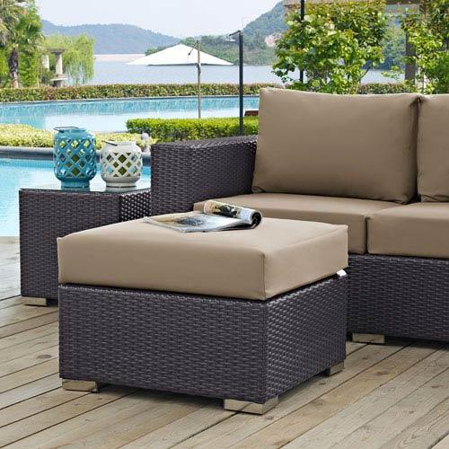 Modway Furniture Convene Outdoor Patio Fabric Square Ottoman in Espresso Mocha