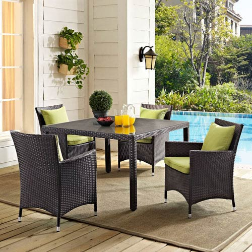 Modway Furniture Convene 47-inch Square Outdoor Patio Glass Top Dining Table in Espresso