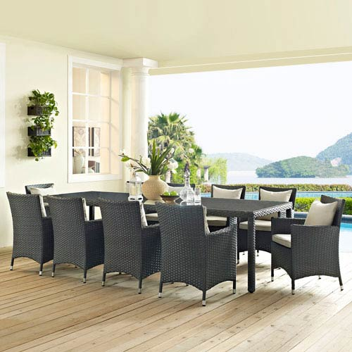 Modway Furniture Sojourn 114-inch Outdoor Patio Dining Table in Chocolate