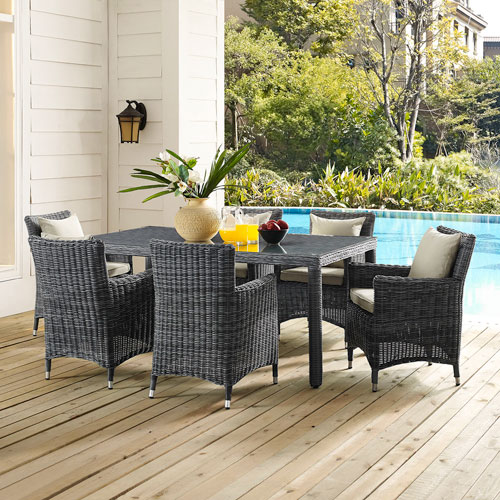 Modway Furniture Summon 70-inch Outdoor Patio Dining Table in Gray