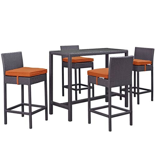 Convene 5 Piece Outdoor Patio Pub Set in Espresso Orange