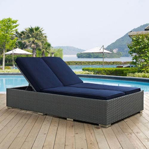 Modway Furniture Sojourn Outdoor Patio Sunbrella® Double Chaise in Chocolate Navy